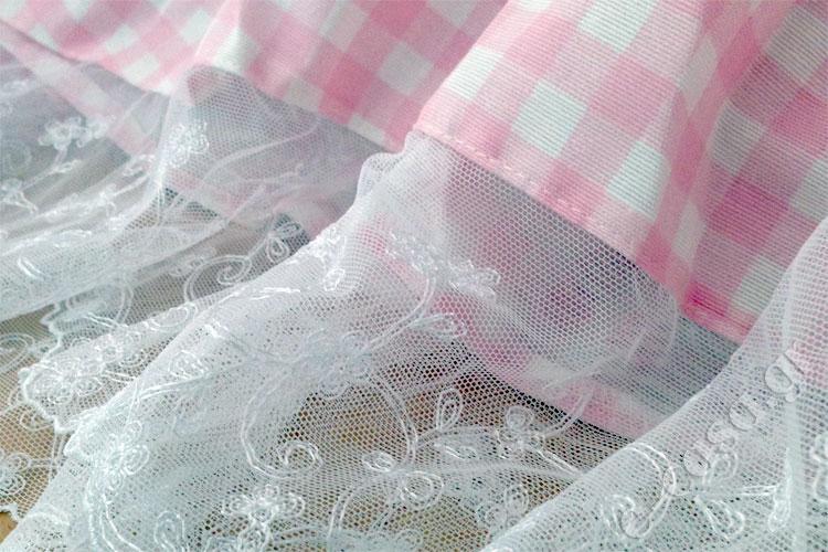Κουρτίνα ροζ με τούλινη δαντέλα