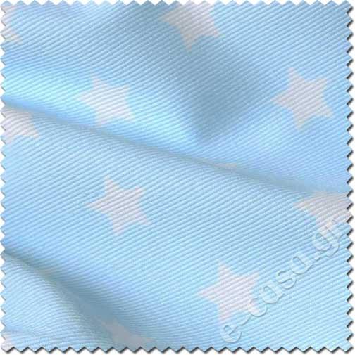 γαλαζιο υφασμα με λευκο αστερι