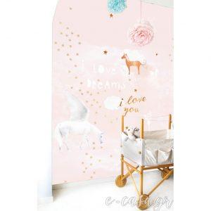 Πόστερ μονόκερος I love Dreams απαλό ροζ