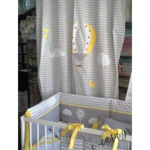 Βρεφική πάντα και κουρτίνα σεβρον με αερόστατο