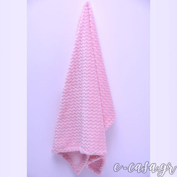 Κουβερτούλες Fleece Chevron ( ζικ-ζακ )- Ροζ