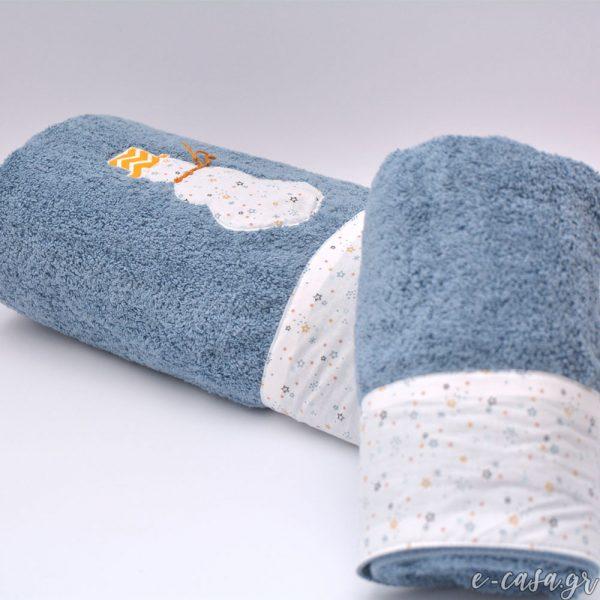 Σετ πετσέτες - Snowman . Σετ πετσέτες μπλε χρώματος , μια μπάνιου με απλικαρισμένο χιονάνθρωπο και μια προσώπου διακοσμημένες με φάσα