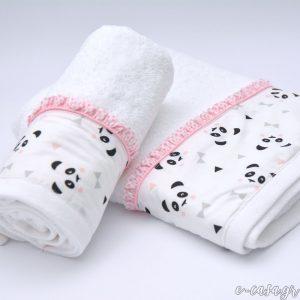 Σετ πετσέτες - Panda ροζ