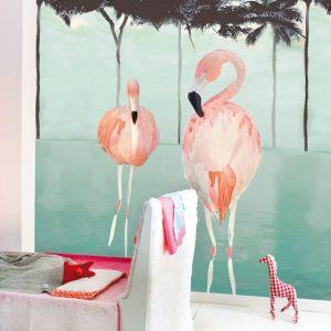 Παιδικό πόστερ Flamingo γαλάζιο
