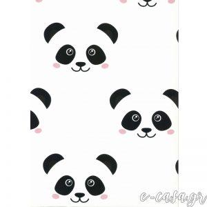 Παιδική Ταπετσαρία με Panda ( πάντα ) λευκό-ροζ