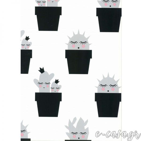 Παιδική Ταπετσαρία κακτάκια μαύρα