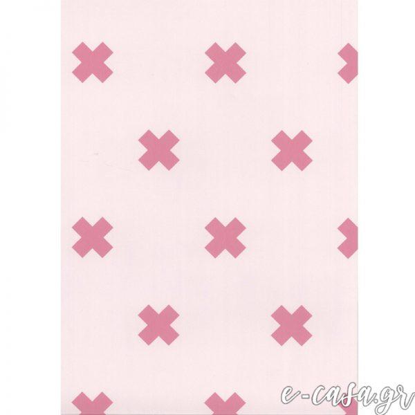 Παιδική Ταπετσαρία μίνιμαλ ροζ σταυροί