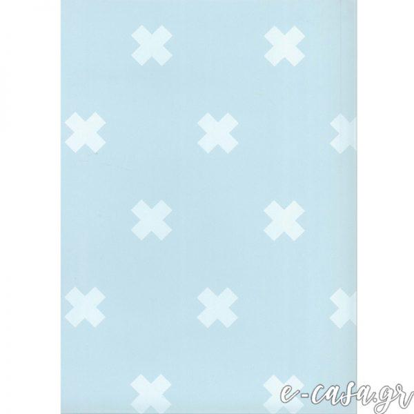 Παιδική Ταπετσαρία μίνιμαλ γαλάζιοι σταυροί
