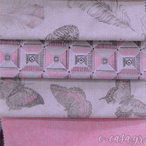 Σειρά Feather - Ροζ Πούπουλα Εμπριμέ σειρά σε τρεις αποχρώσεις! Εμπριμέ υφάσματα με πούπουλα-φτερά