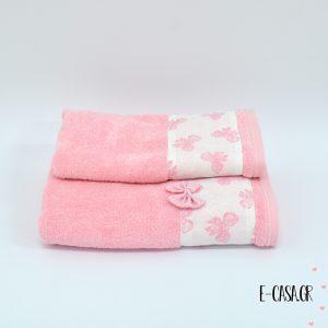 Σετ πετσέτες - Φιόγκοι Ροζ