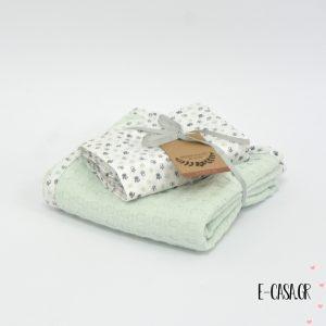Πικέ κουβέρτα λίκνου μέντα
