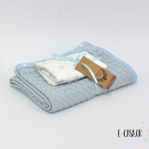 Πικέ κουβέρτα λίκνου μπλέ