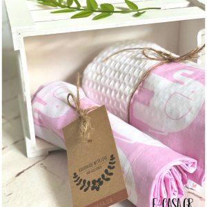 Πικέ κουβέρτα λίκνου Ελεφαντάκια Ροζ