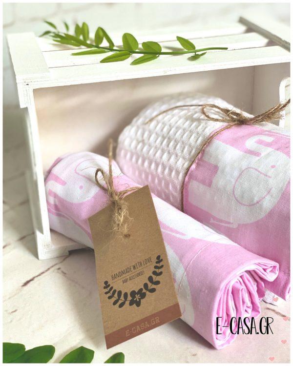 Βρεφική κουβερτούλα Ελεφαντάκια Ροζ