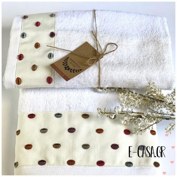 Ρομαντικό σετ πετσέτες 2 τεμ. Chic Collection Πουά