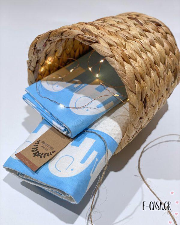 Βρεφική κουβερτούλα Ελεφαντάκια Γαλάζιο