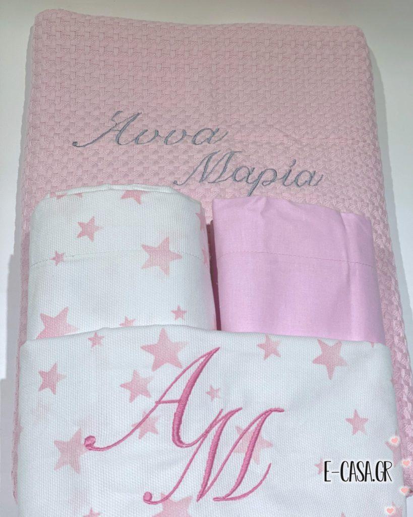 Δωράκι για βάπτιση σε ροζ χρώμα με κέντημα