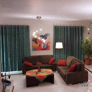 Πράσινες - Κυπαρισσί κουρτίνες με γεωμετρικά σχέδια