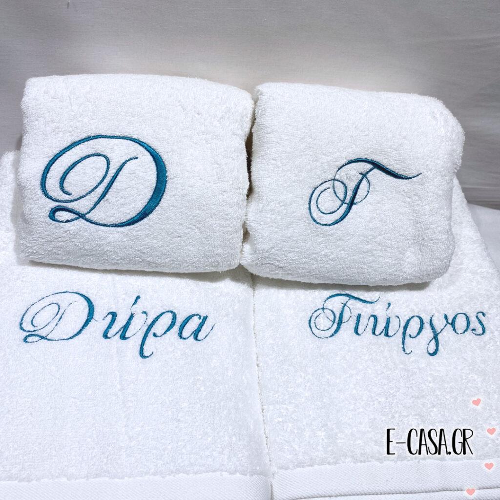 Δώρο γάμου πετσέτες με κέντημα