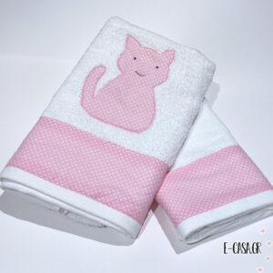 Σετ πετσέτες - ροζ πουα με απλικέ γατούλα