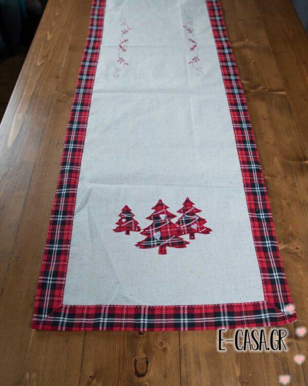 Χριστουγεννιάτικη τραβέρσα christmas tree red