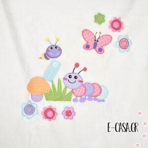 Κουβέρτα Βελουτέ Κούνιας Manterol Baby Happy Flower