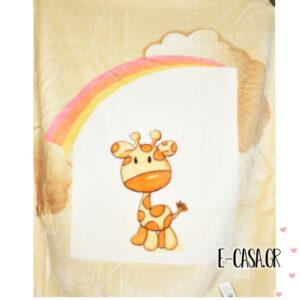 Κουβέρτα Βελουτέ Κούνιας Manterol Baby Alfa Giraffe