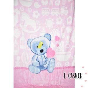 Κουβέρτα Βελουτέ Κούνιας Manterol Baby Vip Teddy Heart