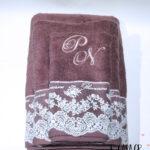 Δώρο Γάμου σετ πετσέτες 3 τμχ με δαντέλα