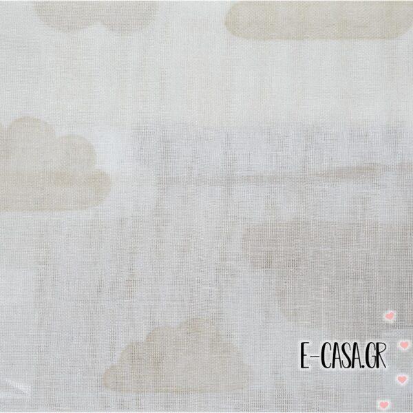 'Υφασμα Γάζα συννεφάκια λευκό με μπεζ (2-2405)