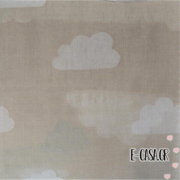 'Υφασμα Γάζα συννεφάκια μπεζ με λευκό (2-2406)