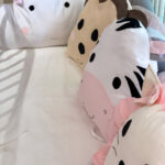 Βρεφική πάντα για κούνια με ζωάκια ροζ - γκρι