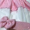 Έτοιμη κουρτίνα ροζ πουά με πον πον