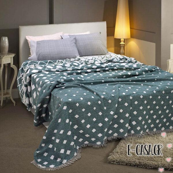 Κουβέρτα με κρόσια πράσινη