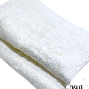 Δώρο Γάμου σετ πετσέτες εκρού με δαντέλα Blumarine