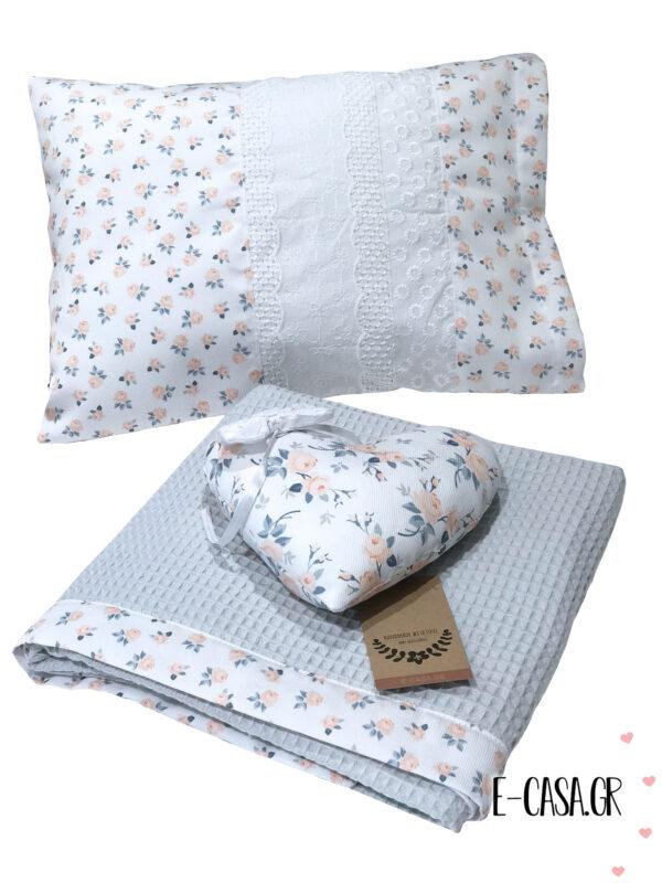 Πικέ κουβέρτα κούνιας γκρι φλοράλ