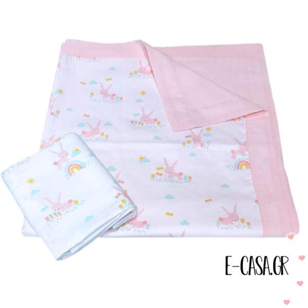 Καλοκαιρινή κουβερτούλα λίκνου ροζ με λαγουδάκια