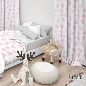 Έτοιμες κουρτίνες Σειρά Φιόγκοι ροζ