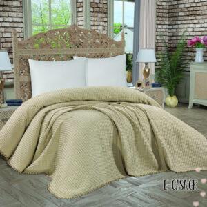 Κουβέρτα πικέ pom pom taupe