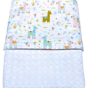 Πικέ κουβέρτα κούνιας λευκή με Λάμα