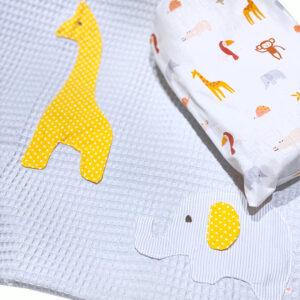 Πικέ κουβέρτα κούνιας απλικέ safari