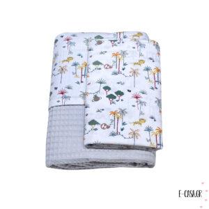 Πικέ κουβέρτα κούνιας γκρι jungle