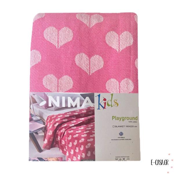 Παιδική κουβέρτα πικέ ροζ καρδούλες
