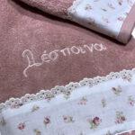 Δώρο βάπτισης κεντημένες πετσετούλες Floral